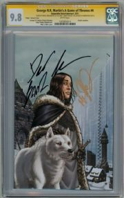 A Game Of Thrones #4 Virgin Variant CGC 9.8 Signature Series Signed x3 George R R Martin Abraham Miller Dynamite comic